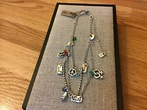 "NWT Uno de 50 Silver-plated Necklace w/ Charms/Crystals ""Let's Go for It"""