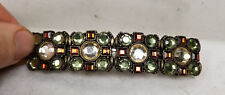Antique Vintage French Barrette Hair Clip Colorful Costume Jewelry Rhinestone
