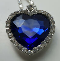 LARGE Heart of the Ocean Silver Necklace from Titanic Movie Film Kate Winslett