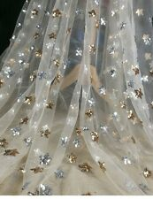 Gold Star Sequins Soft Lace Mesh Fabric Embroidery Dress By Metre Fashion New
