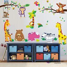 Animale Giungla/Zebra/orso/gufo/Bird Kid Nursery Baby Wall Sticker Decalcomania Arredamento AR