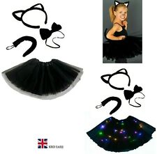 Kids WITCHES BLACK CAT Fancy Dress Halloween Costume LED TUTU Accessory Set UK