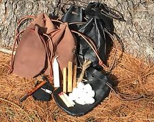 Handmade Leather Drawstring Pouch Fire Starting Kit Bushcraft Outdoors Brown