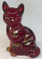 Fenton Art Glass Hand Painted Golden Pods On Ruby Red Cat