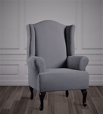 Stretch Lattice wing Chair Slipcover by sure fit Surf Slate gray