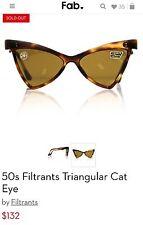 Vintage 50's Cat Eye Filtrants French Tortoise Cat Eye Triangle Sunglasses Fab.