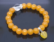 10mm Yellow Jade Beads Crystal Apple Pendant Stretchy Women Girl Bangle Bracelet