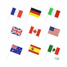 50 Countries International World Stick Flag,Hand Held Small Mini National Pen.