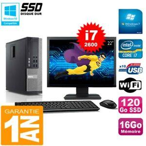 """PC DELL 790 SFF Core I7-2600 Ram 16Go Disque 120Go SSD Graveur Wifi W7 Ecran 22"""""""