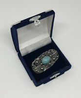 Vintage Brooch Silver Tone & Turquoise Coloured Stone Pretty Costume Jewellery
