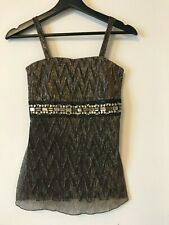 Women Top Brown with Gold Glitter with Straps Size S