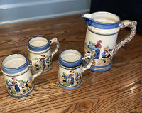 Antique Hand Painted Made In Japan, Pitcher And 3 Mugs