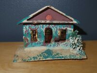 Vintage Japanese Christmas Paper Putz House - White Aqua Brown - Japan - Used/AC