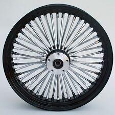 "Black & Chrome 48 King Spoke 18"" x 3.5"" Rear Wheel for Harley and Custom Models"