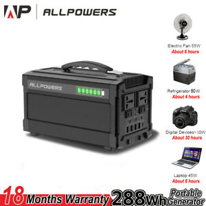288Wh Portable Generator Power Station Emergency Power Charged by Solar Panel