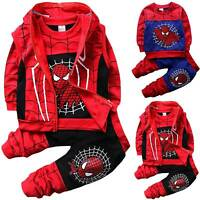3PCS Kids Boys Spiderman Hooded Sweatshirt Hoodies Pants Jacket Cosplay Outfits