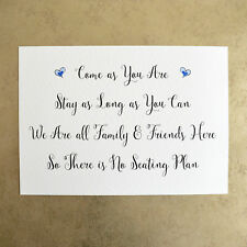A4 Come as you are - No Seating Plan Wedding Sign - 260gsm Hammer Card
