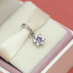 * Authentic Pandora Charm Forget Me Not Flower Dangle 791833ACZ Purple CZ