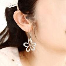 Women Unique Silver Plated Crystal Rhinestone Flower Stud Earrings Hoop Jewelry