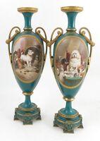 Important Pair Huge Royal Worcester Vases Satirical Dog Subjects After Landseer