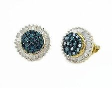 Blue & White Diamond Earrings 10K Yellow Gold Art-Deco Style Large Studs 1.0ct