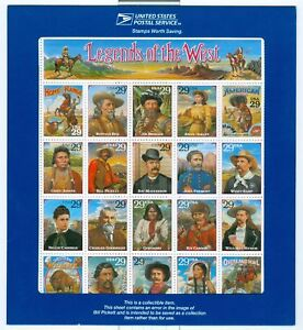 US 2870 Legends of the West Sheet of 20 MNH (Recalled)
