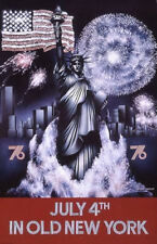 Original Vintage Poster July 4 NYC Old New York Statue Liberty Fireworks USA 70s