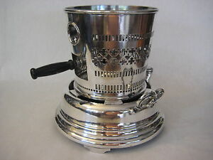 Vintage Silver Plated Heavy Oil Burner With Handle, Marked 2 HB, W26 (Rare)