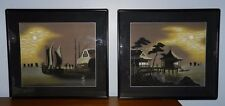 2 Moonlight Silhouette original silk paintings circa 1950. Heirloom, signed.