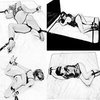 Restraint Under Bed System Set Bondage Strap Cuffs Eye Mask Kit BDSM Toy_QA