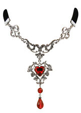 Gothic Trachtenschmuck Dirndl Kropfband schwarz - Kristall Herz rot - ornamental