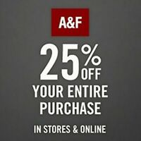 ✔ Abercrombie COUPON CODE 25% OFF/Ex12/30/20 *With BarCODE for IN-Store Purchase