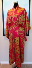 $180 NATORI Private Luxuries Medallion Red & Gold Belted Robe SZ L
