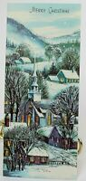 A POLLYANNA CARD Snowy Winter Scene w/Silver Detail Christmas Used Card 1958