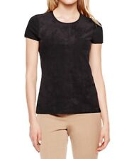 $79 Vince Camuto Black Faux Suede Short Cap Sleeve Casual Top Shirt M Medium*