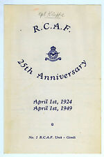 1949 RCAF 25th Anniversary Dinner Program Gimli No. 2 Royal Canadian Air Force