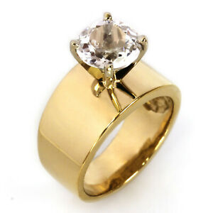 2.5 ct Natural White Topaz Solid 14k Yellow Gold Wide Solitaire Engagement Ring