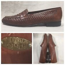 Mario Bruni Penny Loafers Exotic Genuine Ostrich Dress Shoes Size wide 9 Brown