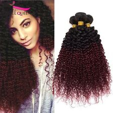 8A 300g/3bundles unprocessed Brazillian Ombre Burgundy kinky curly human Hair