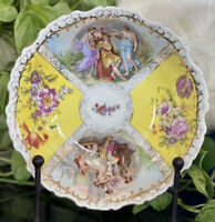 "Antique Dresden Yellow Quatrefoil German Porcelain 9"" Courting Gold Gilt Bowl"