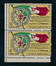 ITALY 1915-16 WW1 FIRENZE ROTARY 5c CHARITY FUND LABEL MARGINAL PAIR