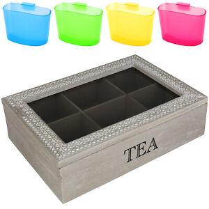 Teebox inkl. Teebeutelhalter Teebeutelbox Teebeutel Teekiste Tee Kiste 6 Fächer
