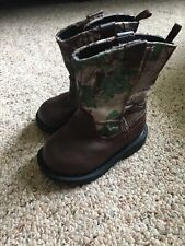 Healthtex Size 3 Boys Unisex Boots Brown Leather With Realtree Camouflage