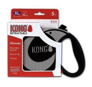 KONG Grey Retractable Lead Flexible Dog Extending Leash Strong Tape 5M 70kg