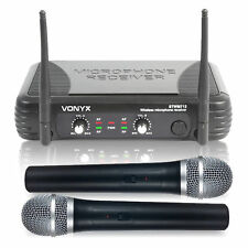 Dual Channel VHF Wireless Radio Microphone System with Twin Vocal Microphones
