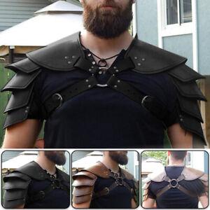 Medieval Shoulder Armor Gladiator Samurai Battle Knight Pauldrons Viking Black