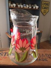 Vintage Tall Glass Water /Juice Jug – Pink Flowers – Retro Design!