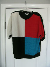 Vintage 80's RACHIL Colorblock Short Sleeve Polyester Pull Over Top Size Medium