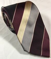 "Mens Neck Tie by Adolfo Gold 100% Silk diagonal stripes 57"" X 4"""