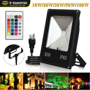 LED RGB Flood Light 10/20/30/50/100W Spotlight Security Lamp Outdoor Garden Yard